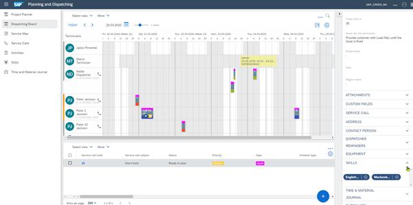 Automatische planning in SAP FSM
