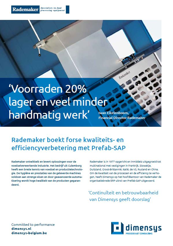 Rademaker vermindert voorraden met Prefab-SAP